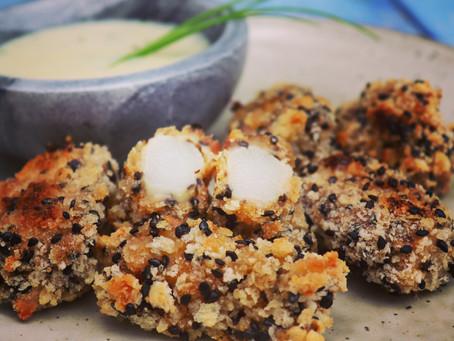 Spargel-Bites mit Knoblauch-Mayo-Dip