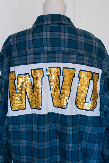 WVU GOLD SEQUIN FLANNEL