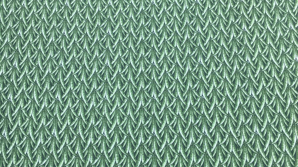 100% Cotton In the Beginning green leaf