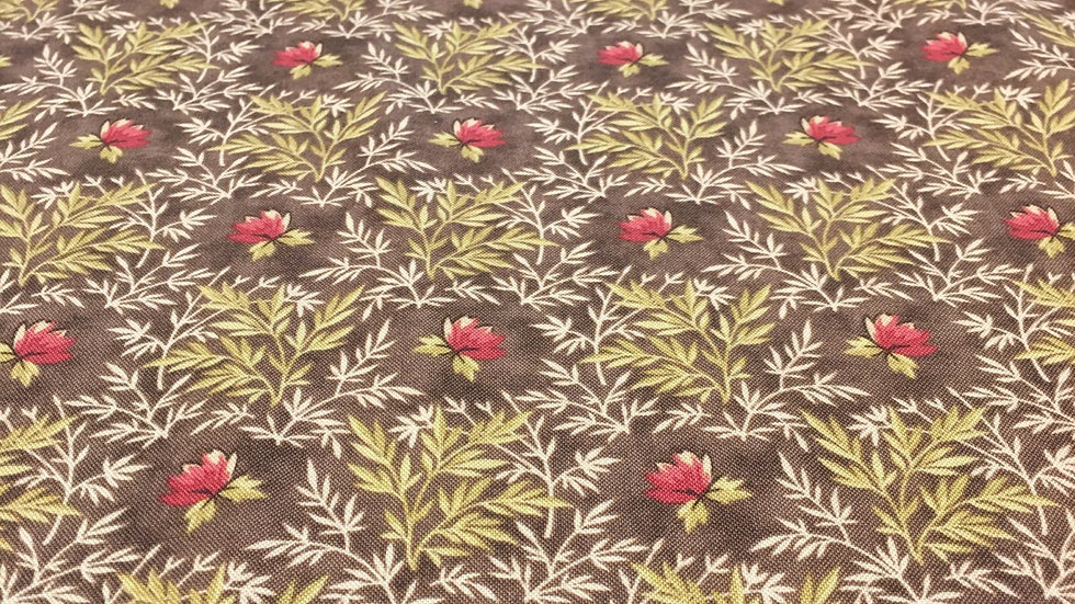 100% Cotton A Summer's Day Brown Floral