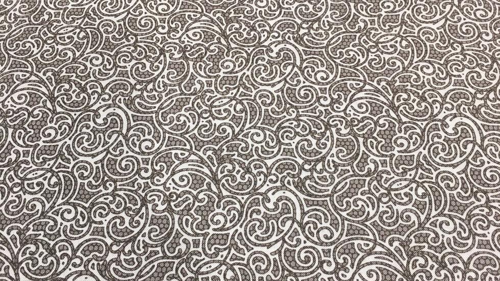 100% Cotton Gray Scroll