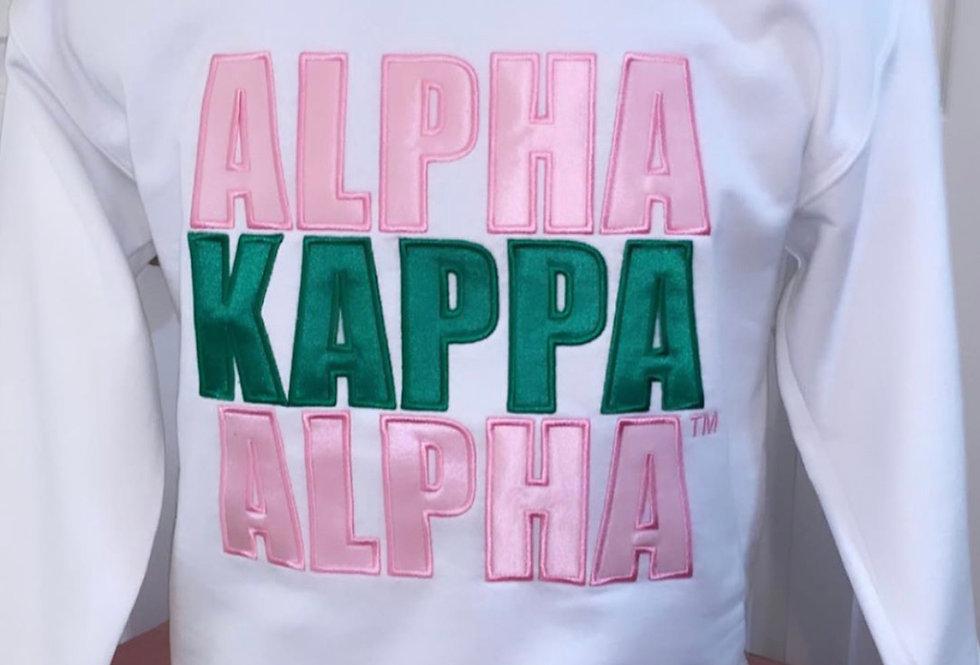 White 'Alpha Kappa Alpha' sweatshirt