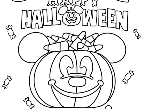 Mickey Halloween Bucket Coloring Page