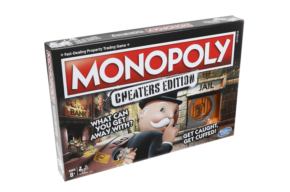 """Image of the game box: """"Monopoly: Cheaters Edition."""" Written across the front are the phrases """"what can you get away with?"""" and """"get caught, get cuffed!"""""""