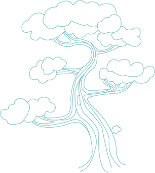 Line drawing of a tree.