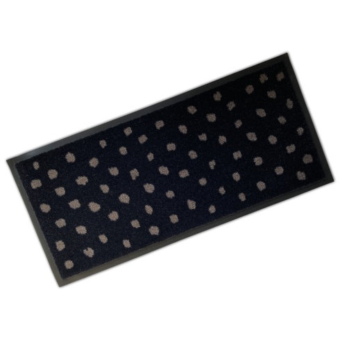 Decorative Rubber Border Wash Mat - Polka Black