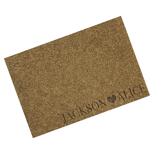 Engraved Couples Woven Style Synthetic Coir Matting