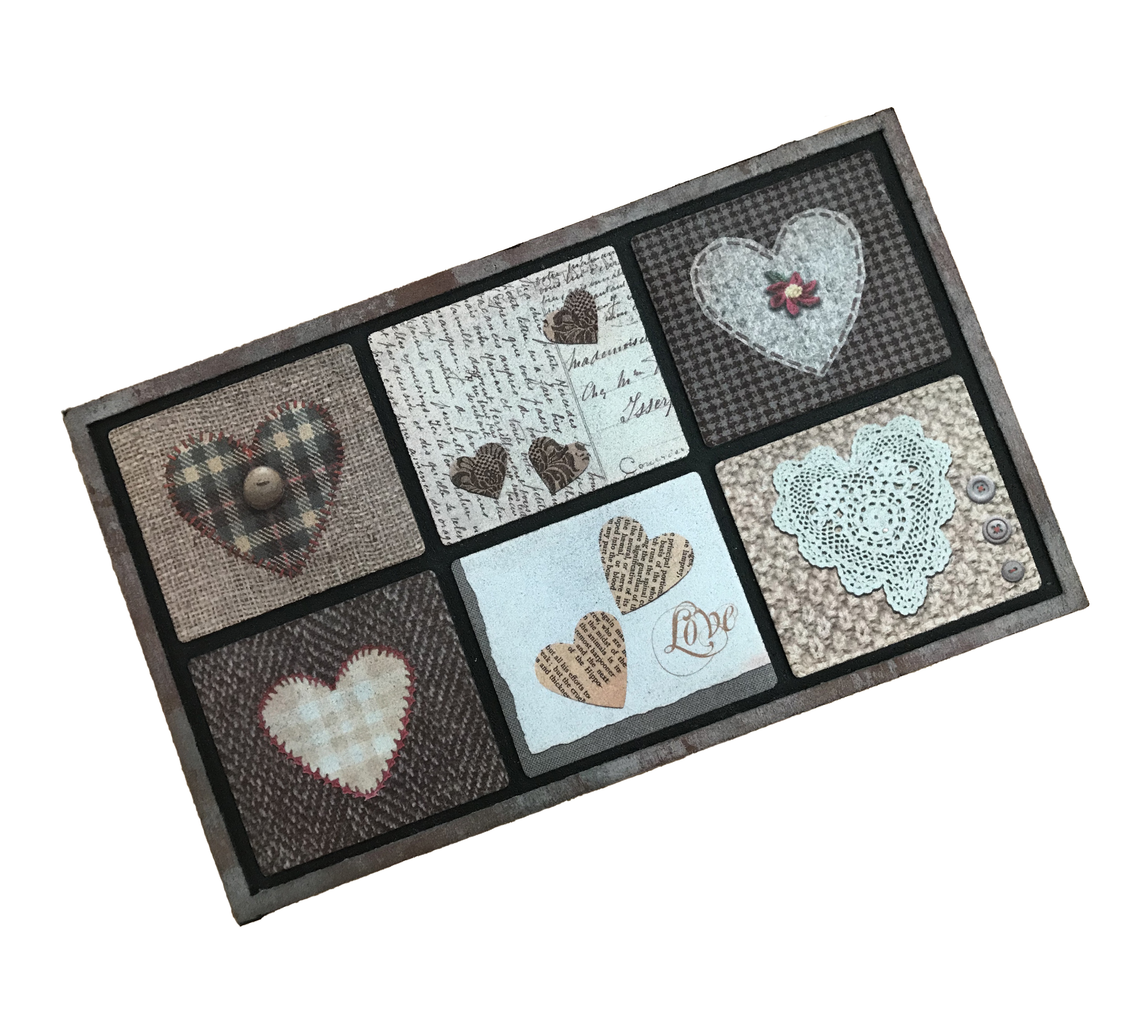 Patchwork Heart Outdoor Mat
