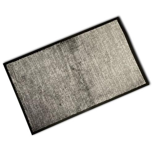 Decorative Rubber Border Wash Mat - Grey Suede