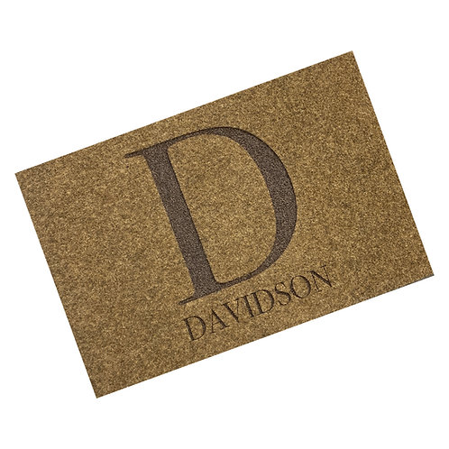 Engraved Surname Woven Style Synthetic Coir Matting