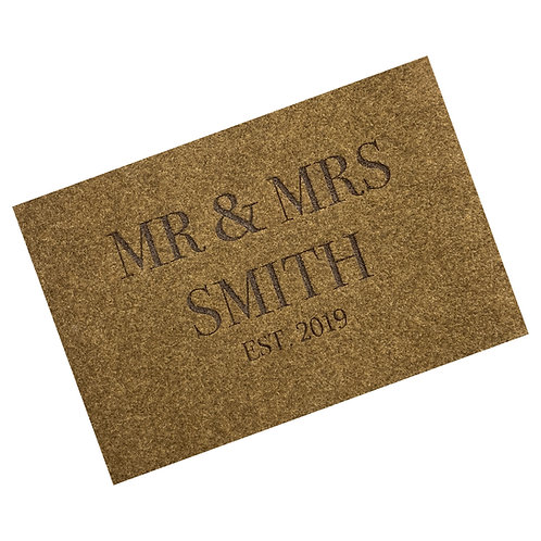 Engraved 'Mr & Mrs' Woven Style Synthetic Coir Matting