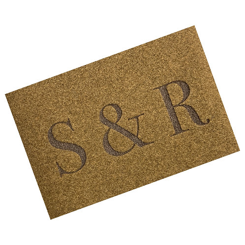 Engraved Initials Woven Style Synthetic Coir Matting