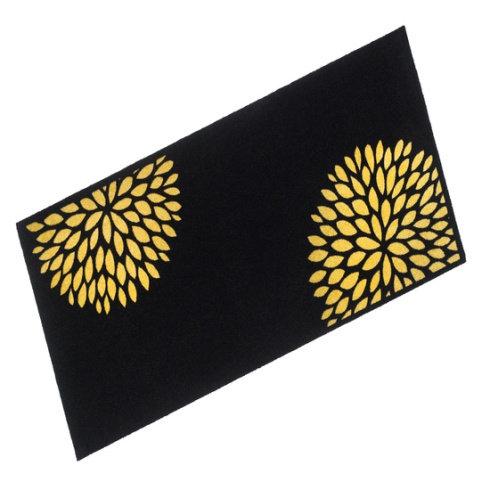 Black Floral Cook & Wash Mat