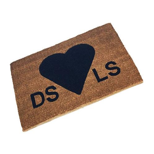 Love Heart Initials Coir Doormat