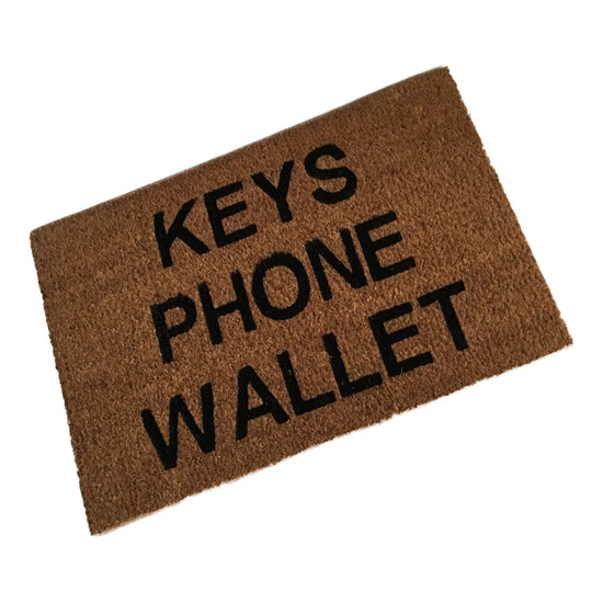 Keys Phone Wallet Coir Doormat