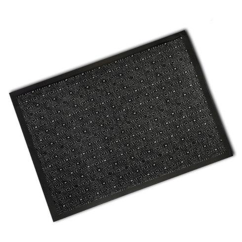 Decorative Rubber Border Wash Mat - Black Diamonds