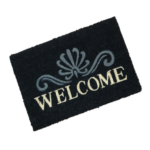 Welcome Black Coir Doormat