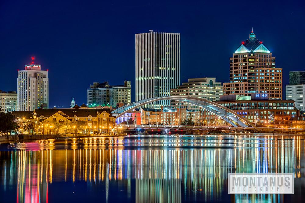 Rochester, NY, at night.