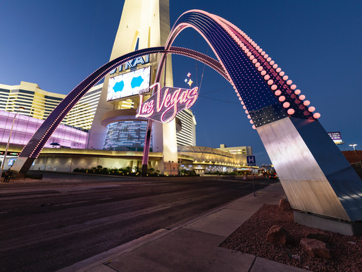 Illuminated Gateway Arches Welcome Visitors to Downtown Las Vegas