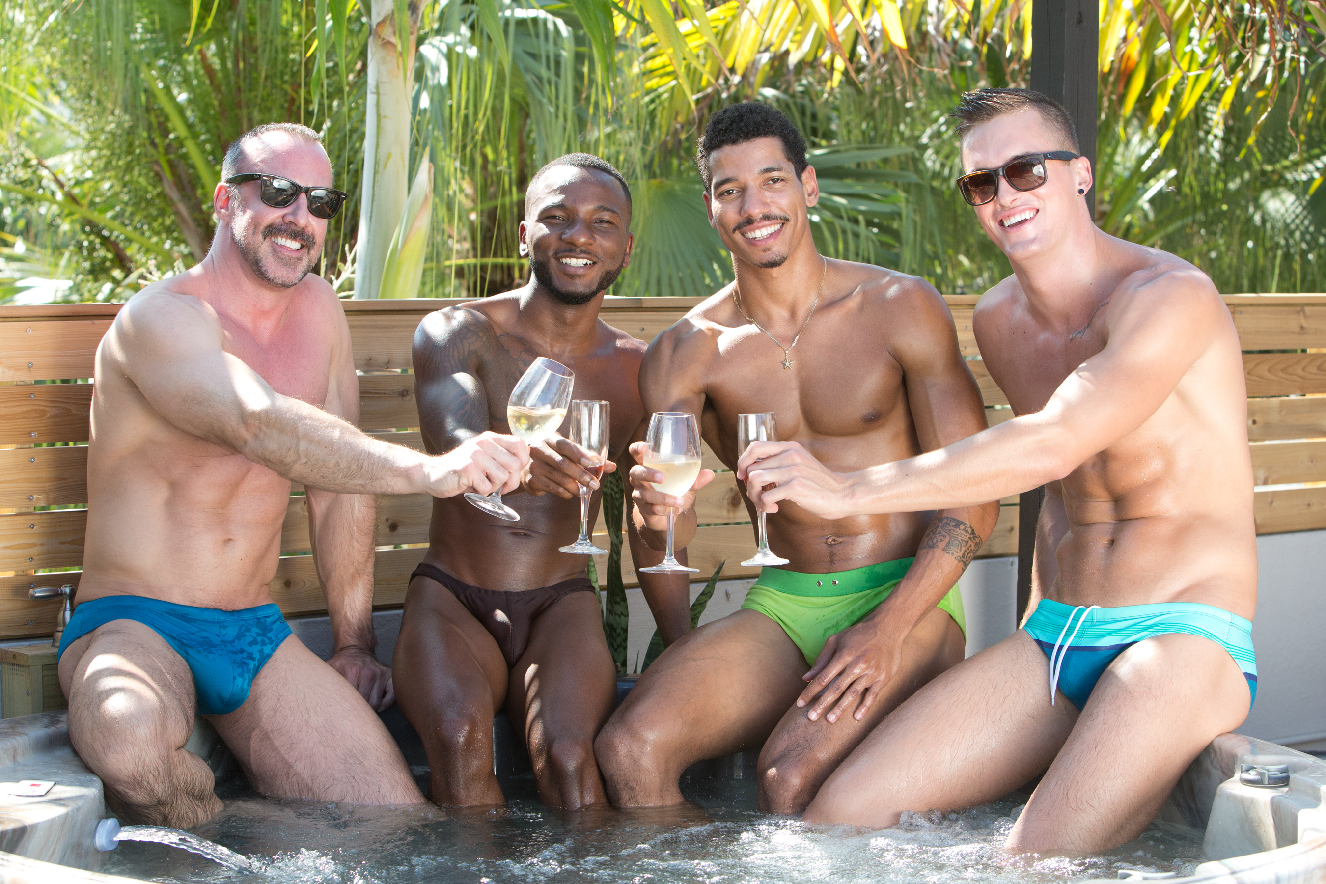 Gay guys in a hot tub