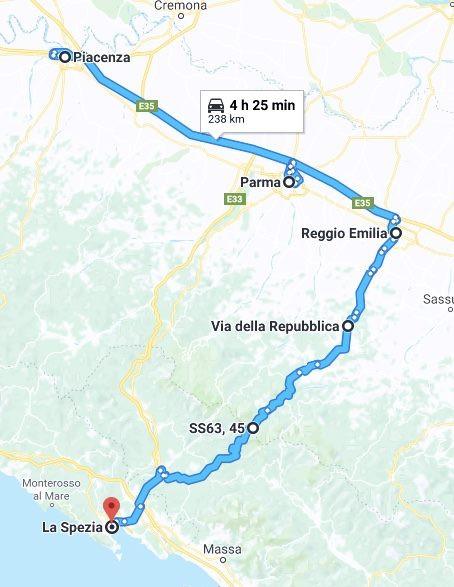 Da Piacenza a La Spezia