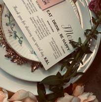 Minimal blush menu and place card