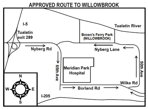 Approved route to Willowbrook Arts Camp
