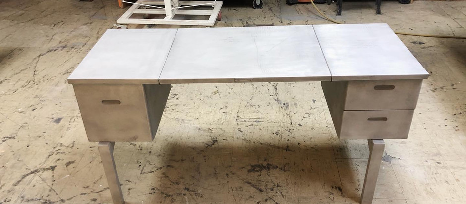 Collectible Foldable Aluminum Army Desk Refinish by CN Coterie
