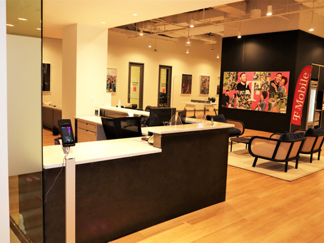 T-Mobile New York Headquarters Reception Desk Refinish by CN Coterie