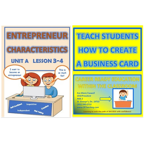 ***BUNDLE*** Teach Entrepreneur Characteristics and Create a Business Card