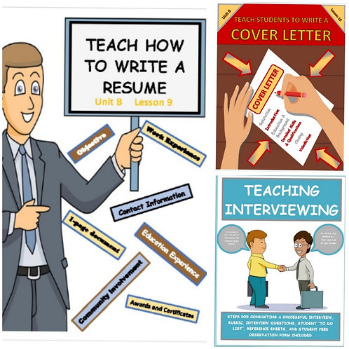 ***MEGA BUNDLE*** Teach students how to write a cover letter, resume & interview