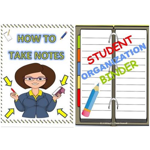 ***BUNDLE*** Note Taking and Student Binder Organization