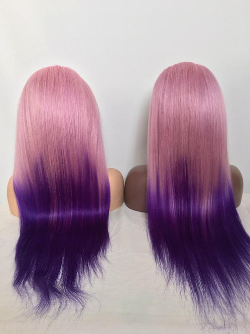 CUSTOM COLOR OMBRE PINK/PURPLE WIG