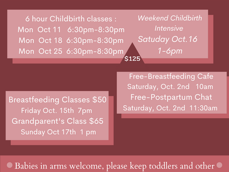 October Classes and Offerings