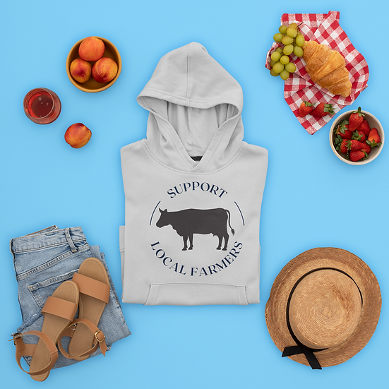 Support Local Farmers Cattle Hoodie