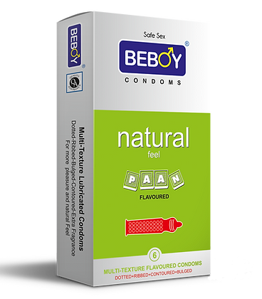 Beboy Natural Sense Multi-Textured 4-in-1 Condoms 6 Pcs (Paan)