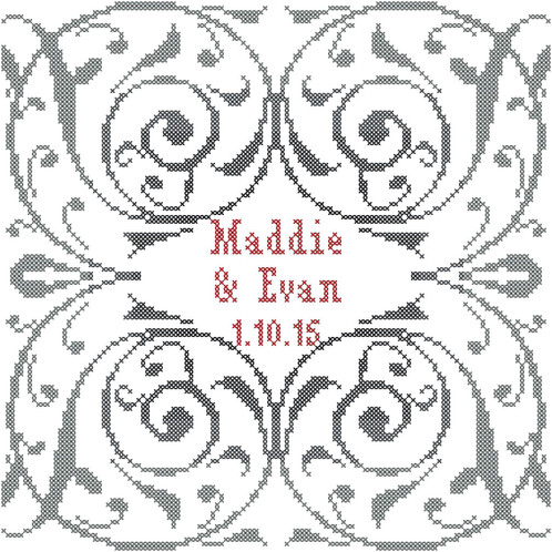 Modern Wedding Cross Stitch Pattern