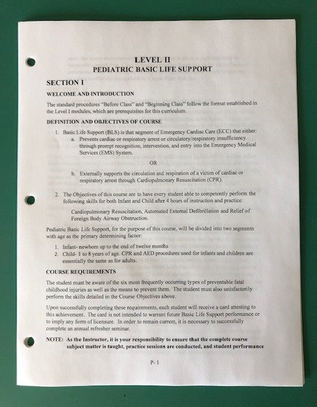 Instructor Manual Pediatric BLS Inserts