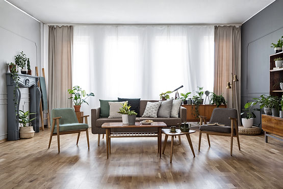 Living Room, neutral colours, textures, plants, high ceilings