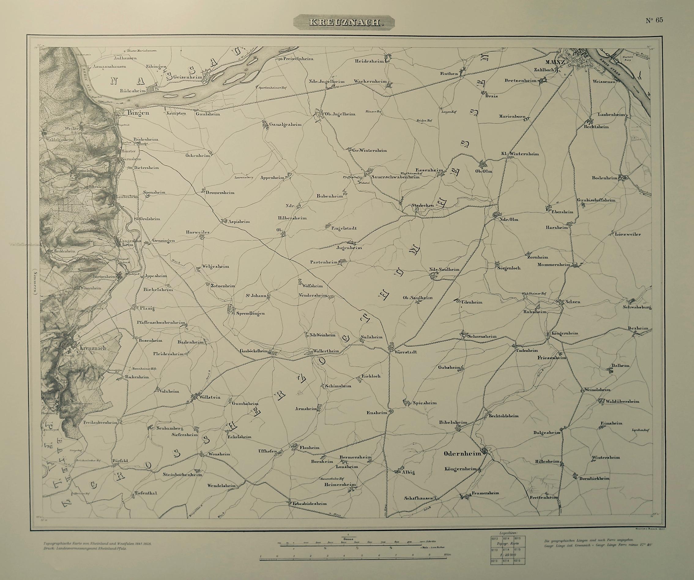 1841: Karte vom Rheinland