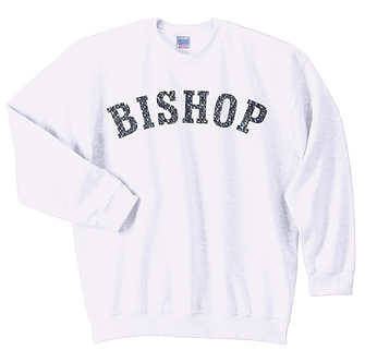 Heavy Blend White Crewneck Sweatshirt with Plaid Lettering