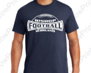 Cotton/Poly Blend 1-Color Football T-Shirt