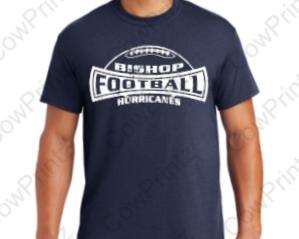 Cotton/Poly Blend 1-Color Football T-Shirt