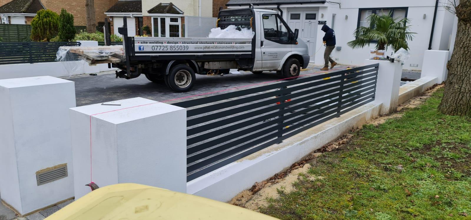 modern gates metal railings driveway
