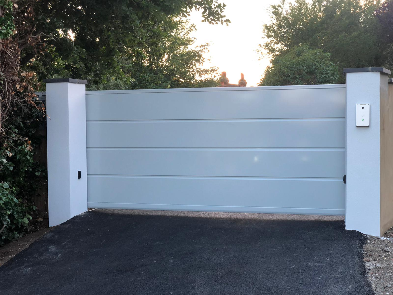 Automated security gates home driveway modern design welding fabrication Essex