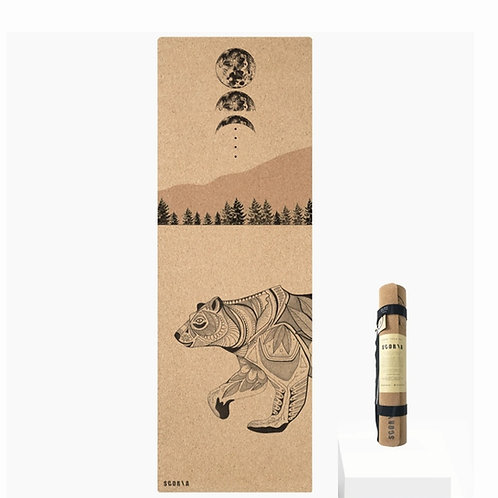 Night Bear Cork Yoga Mat 4.5mm ~ SCORIA ~ made in Canada