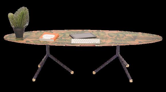 שולחן אובלי טקסטורה ירוקה