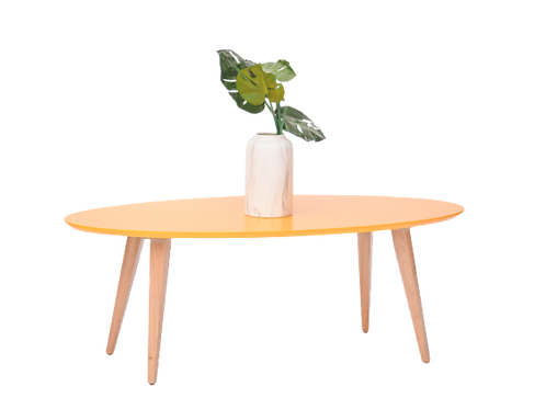 שולחן קפה אובלי צהוב