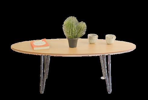 שולחן אובלי צבע אלון מבוקע