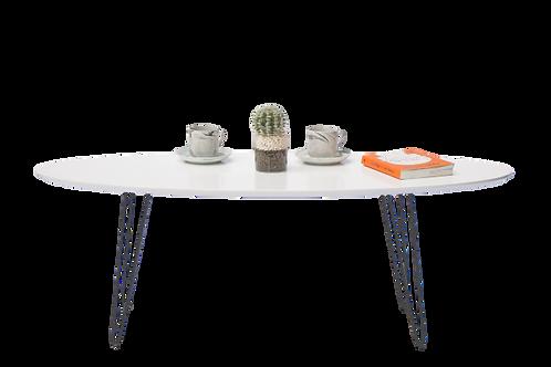 שולחן אובלי לבן עם רגל ברזל